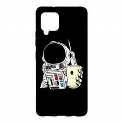 Чехол для Samsung A42 5G Cosmonaut with a coffee