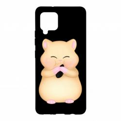 Чохол для Samsung A42 5G Cute hamster with sunflower seed