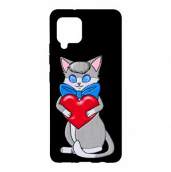 Чехол для Samsung A42 5G Cute kitten with a heart in its paws