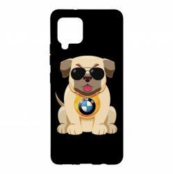 Чохол для Samsung A42 5G Dog with a collar BMW