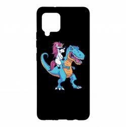 Чохол для Samsung A42 5G Єдиноріг і динозавр