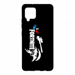 Чехол для Samsung A42 5G Fortnite logo and heroes