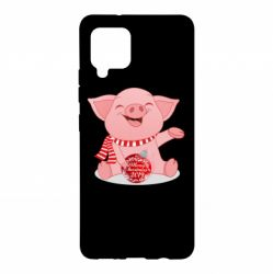 Чохол для Samsung A42 5G Funny pig with a Christmas toy
