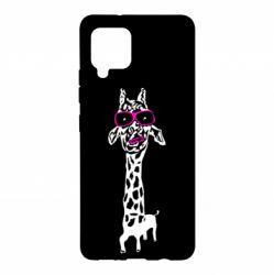 Чохол для Samsung A42 5G Giraffe in pink glasses