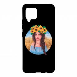 Чехол для Samsung A42 5G Girl in a wreath of sunflowers