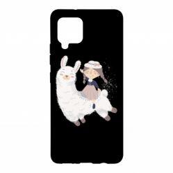 Чохол для Samsung A42 5G Girl with a lama