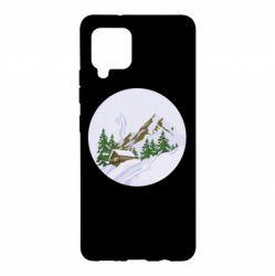 Чехол для Samsung A42 5G House in the snowy mountains