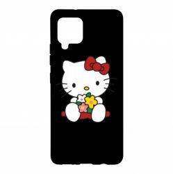 Чехол для Samsung A42 5G Kitty с букетиком