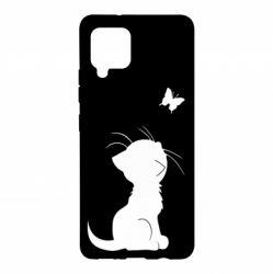 Чохол для Samsung A42 5G Котик з метеликом
