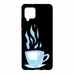 Чехол для Samsung A42 5G Light blue cup of coffee