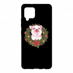 Чохол для Samsung A42 5G Pig with a Christmas wreath