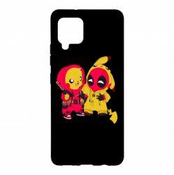 Чехол для Samsung A42 5G Pikachu and deadpool