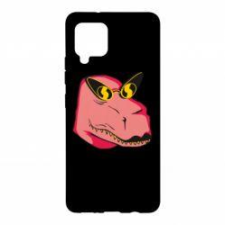 Чохол для Samsung A42 5G Pink dinosaur with glasses head