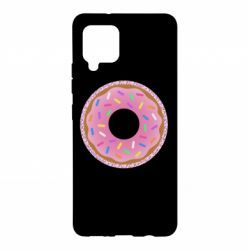 Чохол для Samsung A42 5G Pink donut on a background of patterns