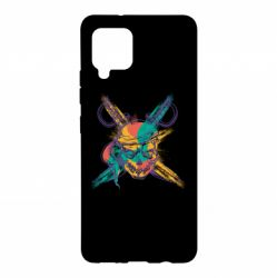Чехол для Samsung A42 5G Pirate skull and paint strokes