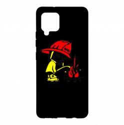 Чехол для Samsung A42 5G Писающий хулиган-пожарный