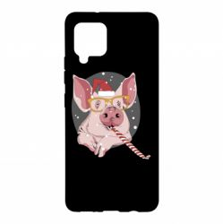 Чохол для Samsung A42 5G Portrait of the pink Pig in a red Santa's cap