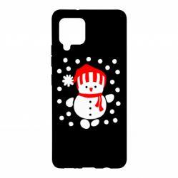 Чехол для Samsung A42 5G Снеговик в шапке