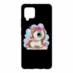 Чохол для Samsung A42 5G Unicorn with flowers