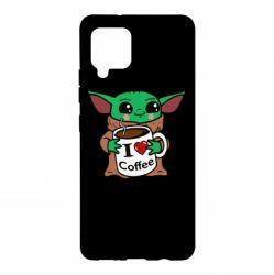 Чехол для Samsung A42 5G Yoda and a mug with the inscription I love coffee