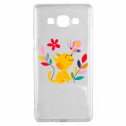 Чехол для Samsung A5 2015 Cat, Flowers and Butterfly