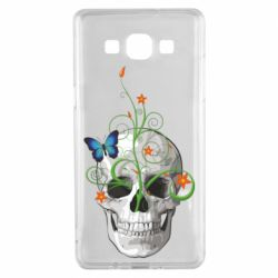 Чехол для Samsung A5 2015 Skull and green flower