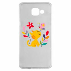 Чехол для Samsung A5 2016 Cat, Flowers and Butterfly