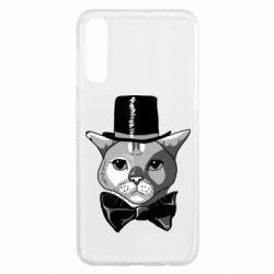 Чохол для Samsung A50 Black and white cat intellectual