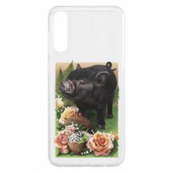 Чохол для Samsung A50 Black pig and flowers