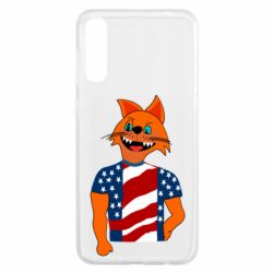 Чехол для Samsung A50 Cat in American Flag T-shirt