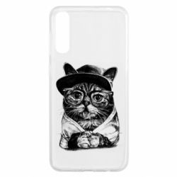 Чохол для Samsung A50 Cat in glasses and a cap