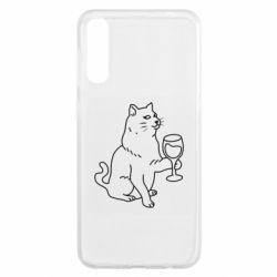 Чохол для Samsung A50 Cat with a glass of wine