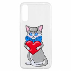 Чохол для Samsung A50 Cute kitten with a heart in its paws