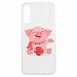 Чохол для Samsung A50 Funny pig with a Christmas toy