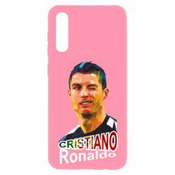 Чохол для Samsung A50 Крістіано Роналдо, полігональний портрет