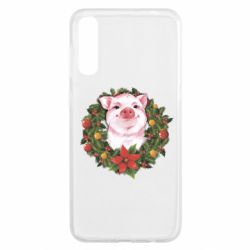 Чохол для Samsung A50 Pig with a Christmas wreath