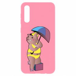 Чохол для Samsung A50 Pig with umbrella