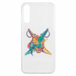 Чохол для Samsung A50 Pirate skull and paint strokes