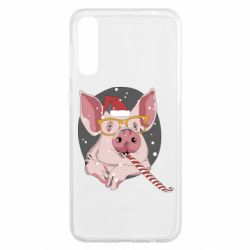 Чохол для Samsung A50 Portrait of the pink Pig in a red Santa's cap