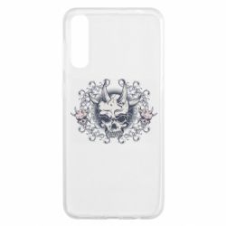 Чохол для Samsung A50 Skull with horns and patterns