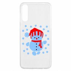 Чехол для Samsung A50 Снеговик в шапке