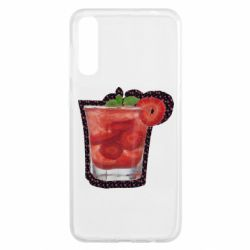 Чохол для Samsung A50 Strawberry cocktail on a background of flowers