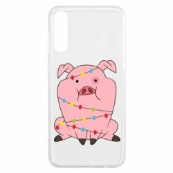 Чохол для Samsung A50 Свиня обмотана гірляндою