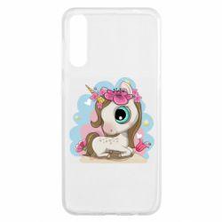 Чохол для Samsung A50 Unicorn with flowers