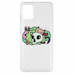 Чехол для Samsung A51 Animals and skull in the bushes