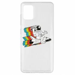 Чохол для Samsung A51 Astronaut on a rocket with a tape recorder