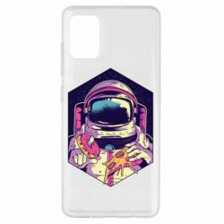 Чехол для Samsung A51 Astronaut with donut and pizza
