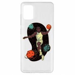 Чехол для Samsung A51 Basketball player and space