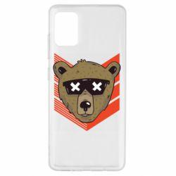 Чехол для Samsung A51 Bear with glasses