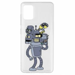 Чехол для Samsung A51 Bender and the heads of robots